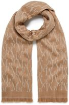 Mulberry Monogram Jacquard Scarf Camel and Cream Wool