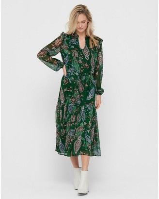 Jacqueline De Yong High-Neck Boho Maxi Dress in Paisley Print with Long Sleeves