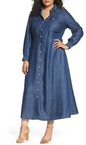 Foxcroft Plus Size Women's Tencel Maxi Shirtdress