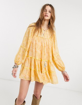 Free People free swinging balloon sleeve mini dress-Yellow