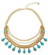Steve Madden Turquoise Goldtone Curb Chain Multi-Row Necklace