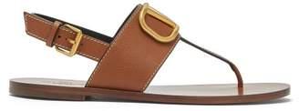 Valentino V-logo Flat Leather Slingback Sandals - Womens - Tan