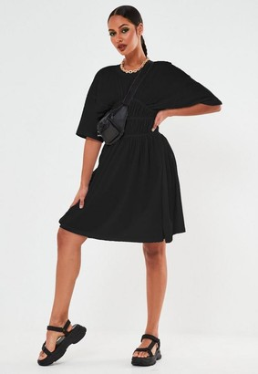 Missguided Petite Black Ruched Waist Mini Dress