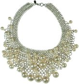 Kenneth Jay Lane Pearl Drop- Bib Necklace-Sterling Silver Plate-16-22 Inches