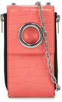 Alexander Wang Riot Crocodile-Embossed Shoulder Wallet, Coral