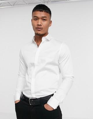 ASOS DESIGN Premium skinny fit sateen shirt in white