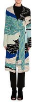 Missoni Mixed Intarsia Belted Oversize Cardigan, Blue Flame