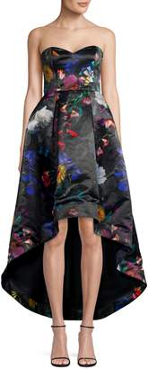 Parker Roxanne Satin Floral Strapless Gown