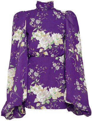 ATTICO Floral Print Chiffon Mini Dress