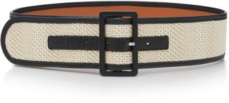 MAISON BOINET Woven Cotton And Leather Belt