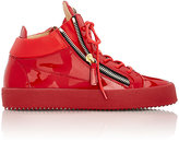 Giuseppe Zanotti Men's Patent Leather Double-Zip Sneakers-RED