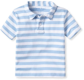 Classic Prep Childrenswear Boy's Henry Striped Short-Sleeve Polo Shirt, Size 3M-14