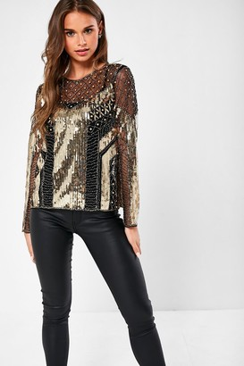 Iclothing iClothing Alexander Sheer Sequin Top in Black and Gold