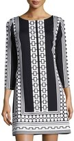 Julie Brown Geometric-Print Shift Dress, Black Moonstone