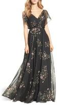Jenny Yoo Women's Cassie Flutter Sleeve Surplice Gown