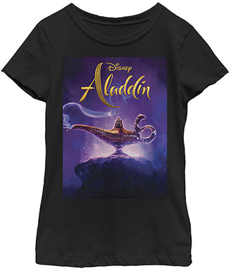 Fifth Sun Girls' Tee Shirts BLACK - Aladdin Black Live Action Cover Fitted Tee - Girls