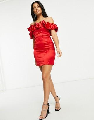 Club L London ruffle off-shoulder mini dress in red
