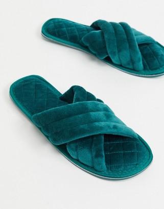 ASOS DESIGN Zada padded cross strap slider slippers in green velvet