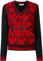 Tory Burch lace panel V-neck jumper - women - Polyester/Merino - L
