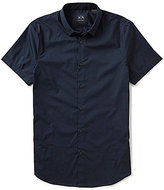 Armani Exchange Basic Solid Poplin Short-Sleeve Button-Down Collar Woven Shirt
