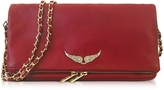 Zadig & Voltaire Garnet Red Leather Foldable Rock Clutch