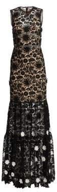 ML Monique Lhuillier Women's Sleeveless Lace Gown - Jet White Combo - Size 4