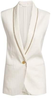 Brunello Cucinelli Cotton & Linen Monili and Paillette Chevron Vest