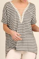 Umgee USA Lace Up Stripes Top