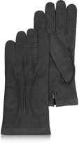 Forzieri Men's Cashmere Lined Black Italian Calf Leather Gloves