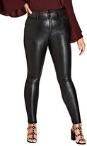 City Chic Plus Size Women's Slither Wet Look Print Front Skinny Jeans