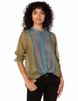 BCBGMAXAZRIA Women's Border Weave Tie-Front Shirt