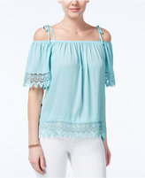Amy Byer Juniors' Off-The-Shoulder Crochet-Lace Top