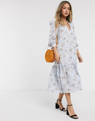 Asos DESIGN trapeze midi smock dress in ditsy floral printed broderie
