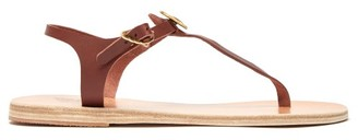 Ancient Greek Sandals Lito Coin-embellished Leather T-strap Sandals - Womens - Dark Brown
