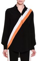 Stella McCartney Button-Front Racing-Stripe Blouse, Black
