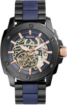 Fossil Men's Automatic Modern Machine Black Ion-Plated Stainless Steel and Blue Silicone Bracelet Watch 45mm ME3133
