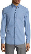 Armani Collezioni Gingham Long-Sleeve Sport Shirt, Blue