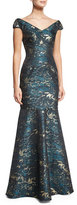 David Meister Cap-Sleeve Brocade Mermaid Gown