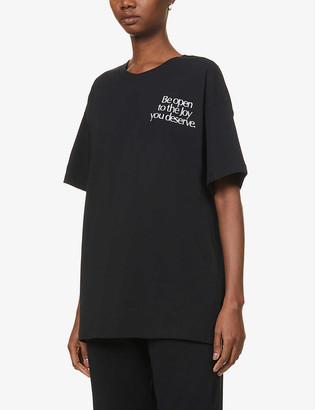 More Joy Be Open To The Joy You Deserve-print cotton-jersey T-shirt