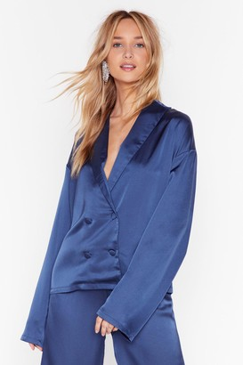 Nasty Gal Womens Sleeks for Itself Satin Double-Breasted Shirt - Blue - 8