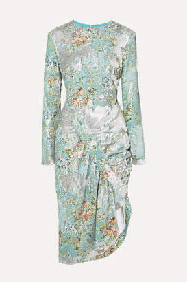Preen by Thornton Bregazzi Daisy Ruched Floral-print Sequined Crepe Midi Dress - Blue