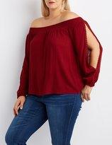Charlotte Russe Plus Size Off-The-Shoulder Split Sleeve Top