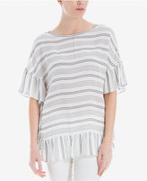 Max Studio London Striped Oversized Ruffled Top