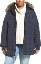 Lucky Brand Plus Size Women's Belted Puffer Jacket With Faux Fur Trim