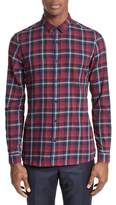 The Kooples Men's Contrast Piping Plaid Sport Shirt
