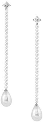 Majorica Sterling Silver 4MM-12MM White Pearl Drop Earrings