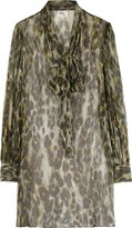 Milly Silk Leopard Print Shirt Dress