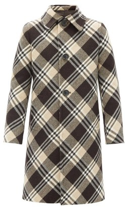 Prada Tartan Wool Overcoat - Black Brown