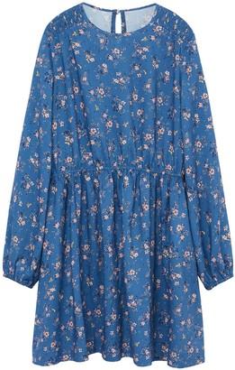 MANGO Girls Floral Long Sleeve Dress - Blue
