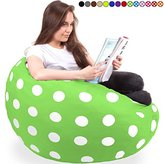 King-Sized Bean Bag Chair in Chartreuse - New King Size Big Soft Comfort Cover with Memory Foam Filler - Cozy Lounger & Bed - Kids & Teens Love This Huge Sack - Indoor Furniture by Panda Sleep